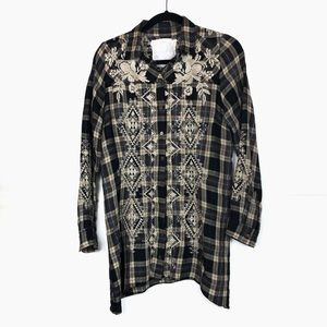 Johnny Was Brown Plaid Flannel Embroidered Top